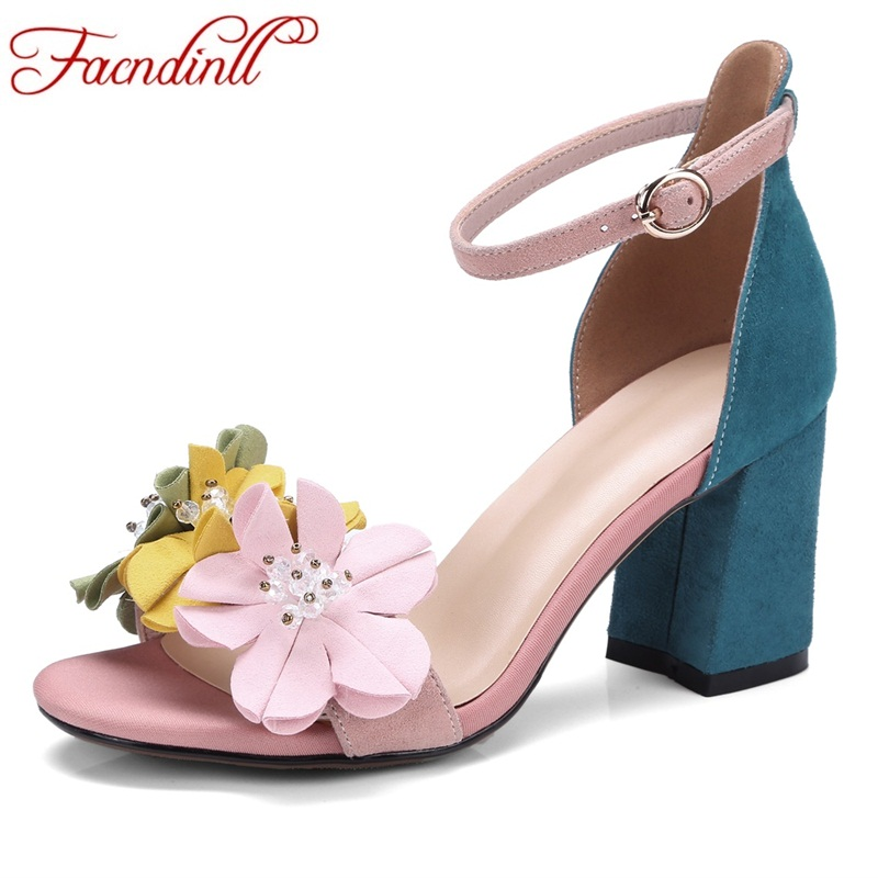 FACNDINLL women 2018 new summer fashion gladiator sandals shoes high heels multi flowers genuine leather woman dress party shoes 2017 summer genuine leather women sandals rose flowers sweet gladiator cross tied party shoes low square heels pump pink sandal