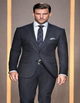 2017 New Arrival Custom Made Black Groom Tuxedos Peaked Lapel Dinner Formal Two Piece Mens Suits Slim Fit(Jacket+Pants)