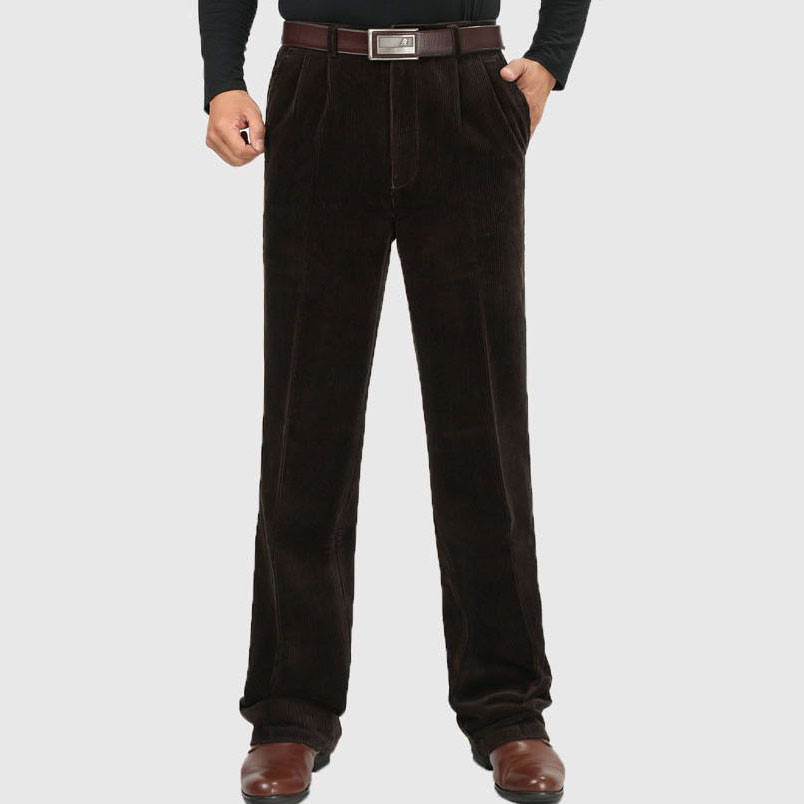 Male Winter High Waist Corduroy Pants Plus Size 46 Thicken Fleece Warm Pants Velvet Business Loose Trousers Jeans