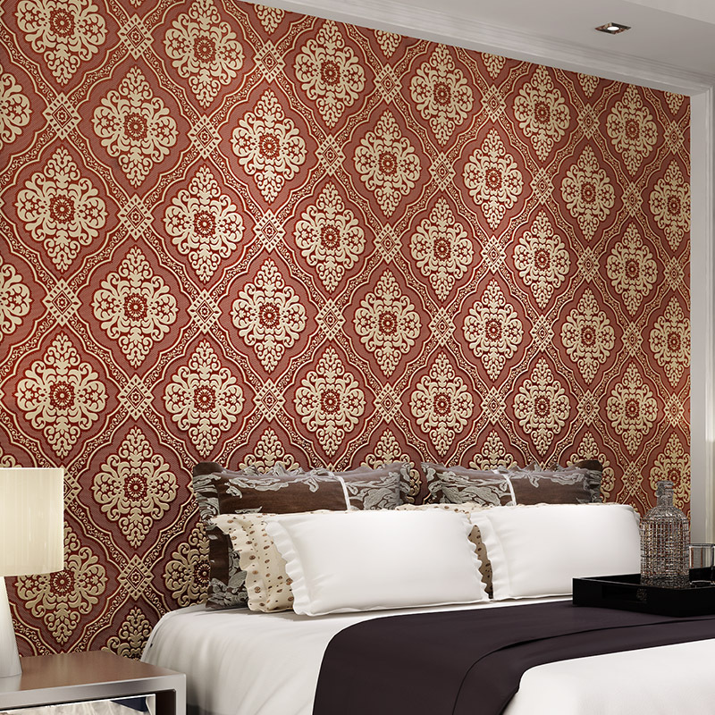 beibehang para quarto em 3d mural paper flocking wallpaper roll Luxury 3d embossed damask Damascus wall papers home decor beibehang modern luxury circle design wallpaper 3d stereoscopic mural wallpapers non woven home decor wallpapers flocking wa