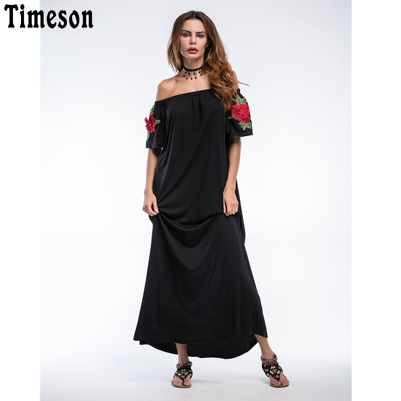 Floral Print Long Dress Women Off The Shoulder 2018 New Arrival Bohemian Dresses Vestidos Sexy Beach Summer Knitted Dress bohemian off the shoulder floral shirred flounce maxi dress for women