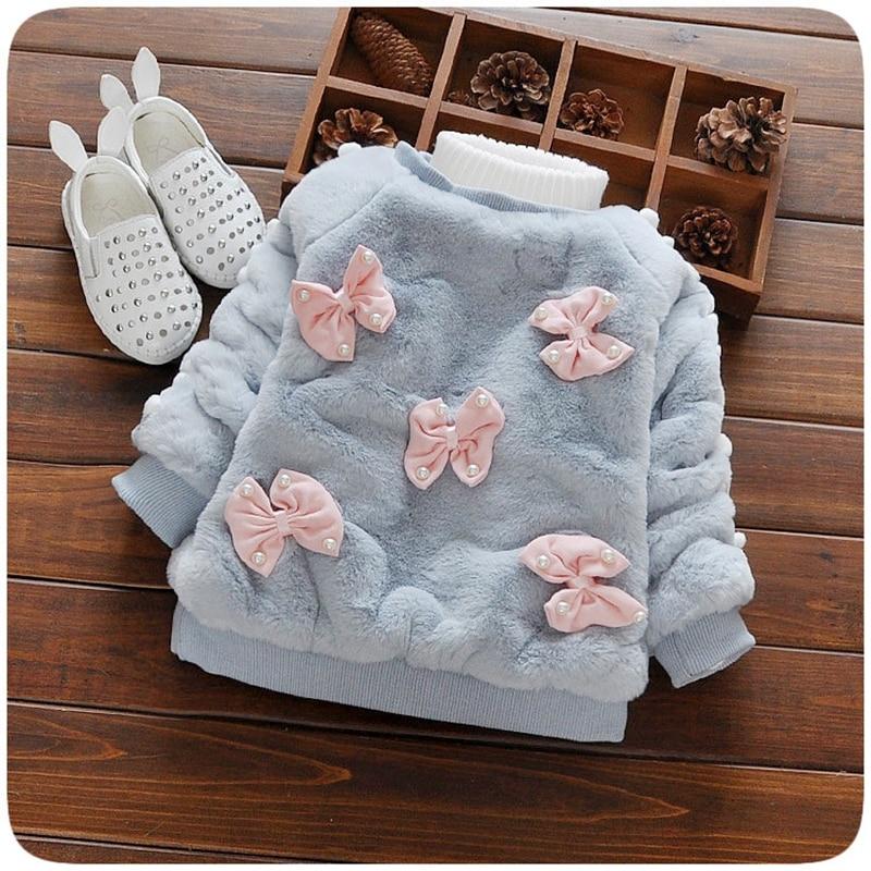 Autumn Winter Baby Girls Long Sleeve Fleece Imitation Pearls Bow Pullover Jacket Kids Outerwear Coat casaco roupas de bebe