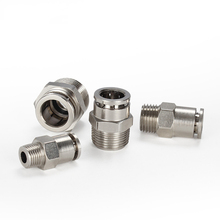 M5 M6 1/8 1/4 3/8 1/2 BSPT Male Pneumatic Nickel Plated Brass  Push In Quick Connector Release Air Fitting Plumbing