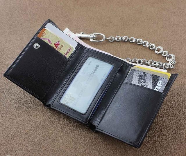 Leather Biker Wallet w/ Metal Ring Key Chain 3