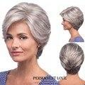 Прямо серебристо-Серый короткий Парик удары стороны мода Жаропрочных синтетический серый прически волос парики для старых Женщин Пожилая Дама