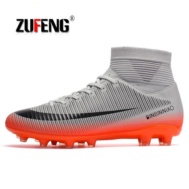 ZUFENG Brand Professional Men s Soccer Football Shoes Sneakers Outdoor TF  Turf Ankle high Soccer Cleats Sneakers Adults Boots 94412129f21