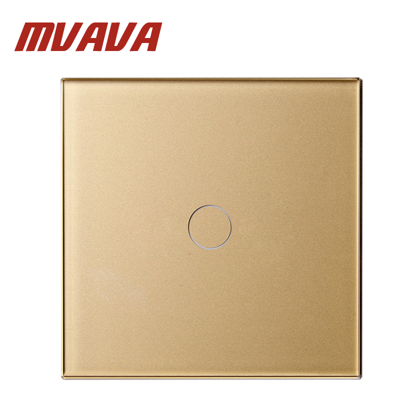 MVAVA Luxury Golden Pearl Crystal Glass 80mm*80mm EU Standard Single Glass Panel 1 Gang 1 Way Wall Touch Switch Remote Control mvava eu standard 3 gang 1 way remote control light switch golden crystal glass panel touch switch wall switch for smart home