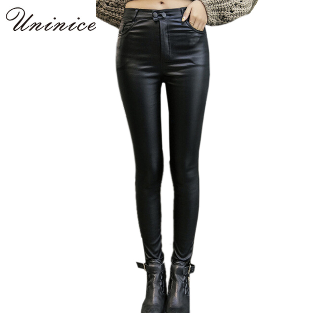 2016 Cheap Women PU Leather Leggings Black Plus Size Mid Waist ankle-length Women Leggings Autumn/Winter Warm Women Leggings