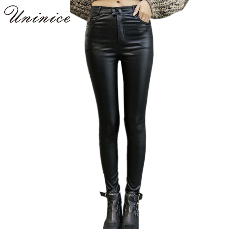 Cheap Women PU Leather Leggings Black Plus Size Mid Waist ankle length