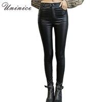 2016 Cheap Women PU Leather Leggings Black Plus Size Mid Waist Ankle Length Women Leggings Autumn