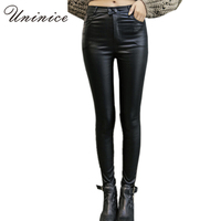 2016 Cheap Women PU Leather Leggings Black Plus Size Mid Waist Ankle Length Women Leggings Autumn