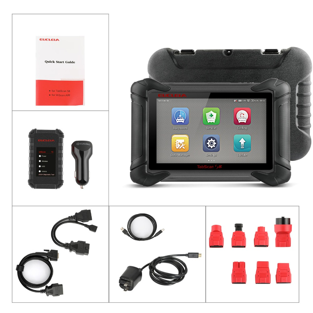 Details about EUCLEIA S8 OBD2 Diagnostic Scanner ECU Coding J2534 PDU  Programming All System