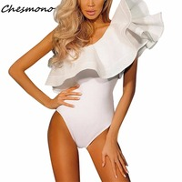 Summer Beach Two Piece Body Suit Black White Overalls 2017 Sexy One Shoulder Bodysuit Ruffle Body Top Jumpsuit Combinaison Femme