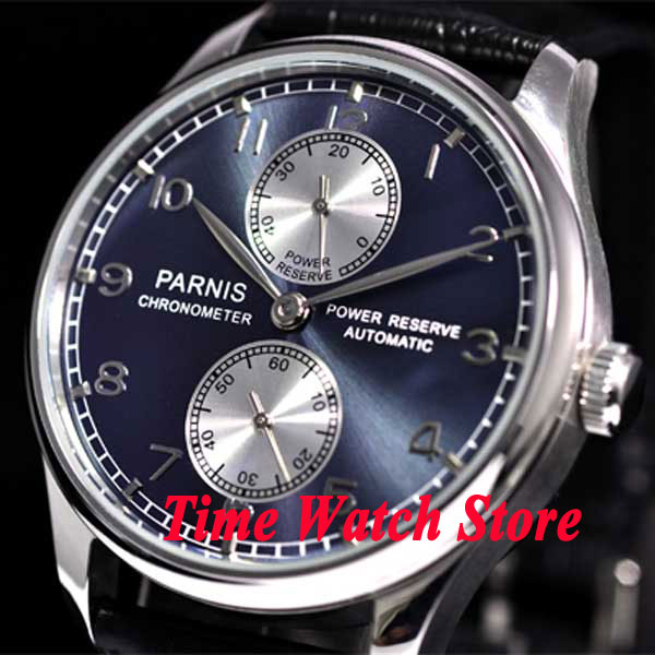 Parnis 43mm Blue dial Power reserve black Leather Strap ST2542 Automatic movement Men's watch 193 relogio masculino цена и фото