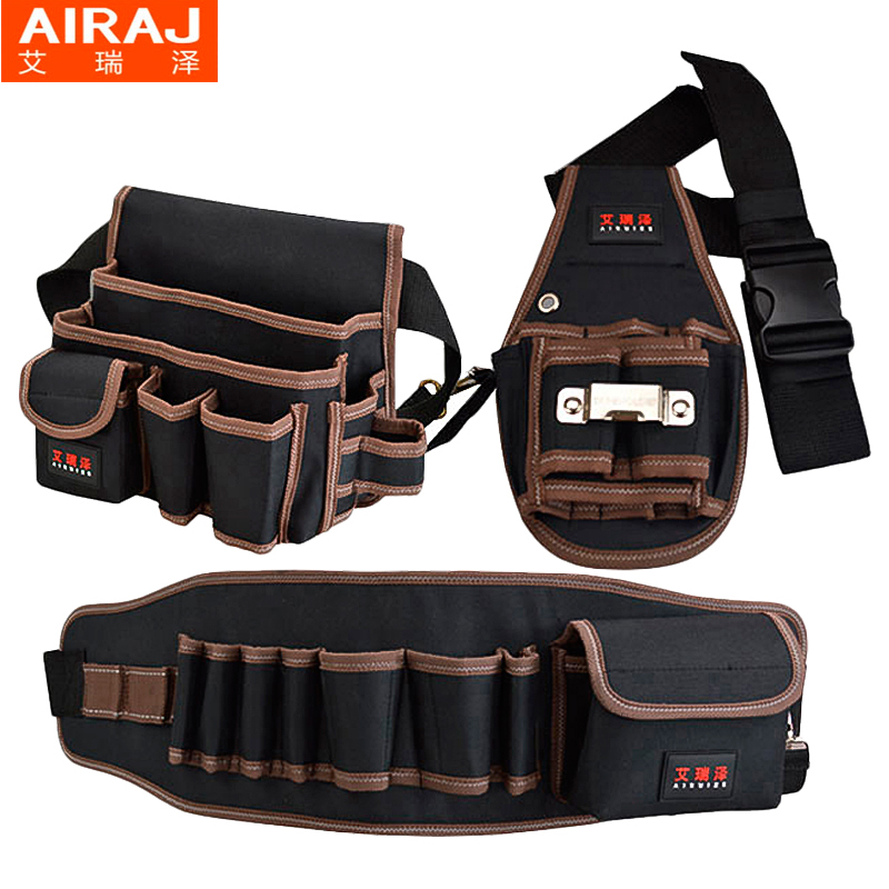 AIRAJ Tool Bag with Tool Belt Professional Electrician's Tool Waist Pack Bag 600D Double Layer Oxford Fabric Toolkit