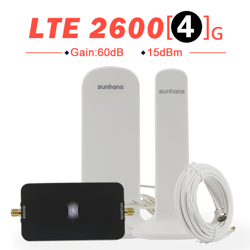 New Mini 4G LTE 2600 mhz Signal Repeater Band 7 ALC 60dB Gain Cellphone Booster Amplifier Full Set