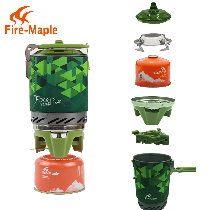 Moscow warehouse FMS X2 compact One Piece Camping Stove Heat Exchanger Pot camping equipment set Flash