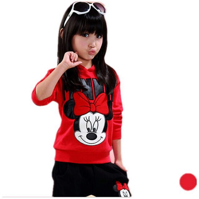 baby girls clothing sets cartoon minnie Mickey 2017 autumn children's wear cotton casual tracksuits kids clothes sports suit