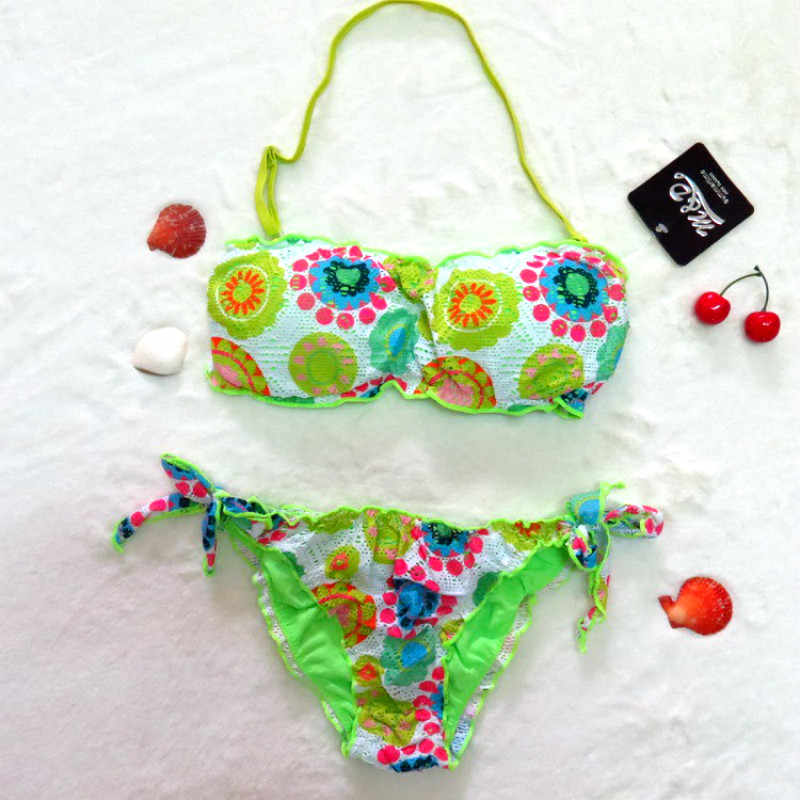 b1cb1fc4ff ... Cute Floral Printed Girls Bikini Set New Arrivals Two-piece Swimsuit  Swimsuit For Teenager Plus ...