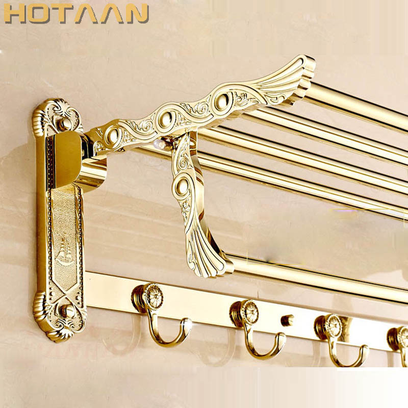 FREE SHIPPING, Bathroom towel holder, Stainless steel +zinc alloy Gold towel rack,60cm bath towel rack ,YT-4012 free shipping bathroom towel holder zinc alloy antique brass towel rack 60cm bath towel rack yt 4011
