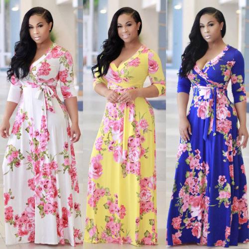 b0e02d9dc4a1 Women V-Neck Short Sleeve Floral Boho Long Maxi Dress Vestidos Evening  Party Beach Bandage Loose Plus Size Dresses Sundress Top