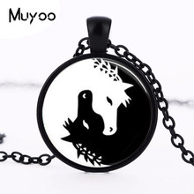 Horse Jewelry Necklace Yin Yang Black and White Animals Art Pendant Glass Photo Charms Photo Art medallion pendant HZ1(China)