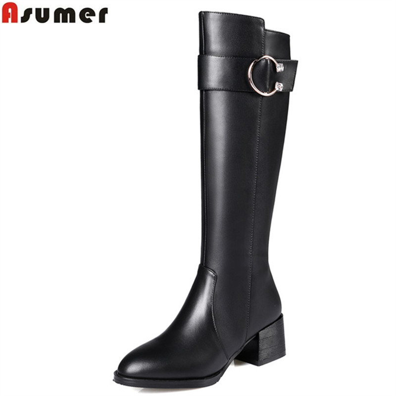 ASUMER new arrive women boots fashion zipper buckle high quality pu+ genuine leather boots black autumn winter knee high boots de la chance winter women boots high quality female genuine leather boots work