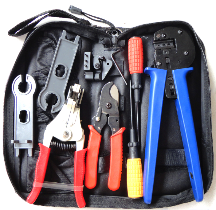 Solar Tool Kit solar Tool set MC4 crimping tool with cable stripper, cable cutter, MC4 spanner and screwdriver A-K2546B-4 solar panel tool kit ly k2546b 1 pv tool set mc4 crimping tool set only including mc3 crimping die set mc4 mc3 crimping tool