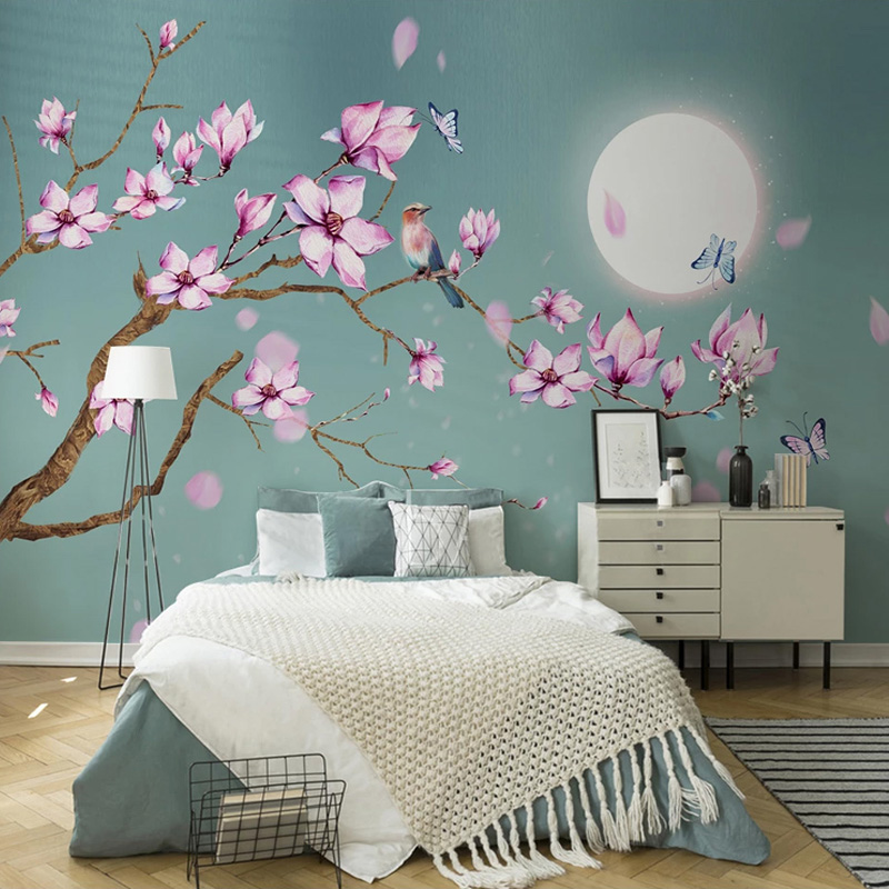 Chinese Style Magnolia Flowers Bird Mural Wallpaper Living Room Bedroom Study Home Decor Wall Painting Easy Installation Sticker