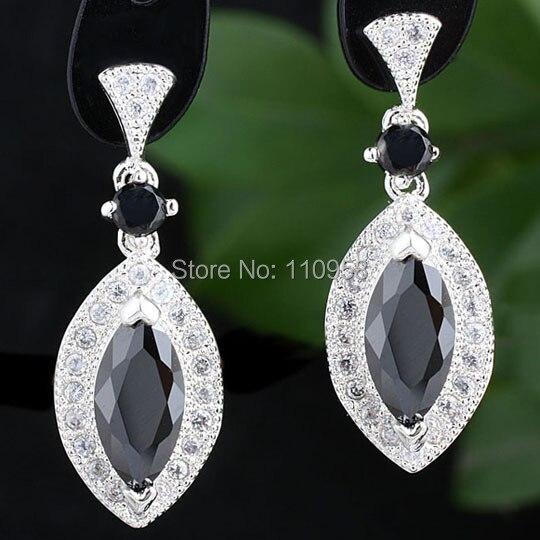 Women 925 Sterling Silver Earrings Eye Shape Black Onyx Dangle jewelry MNS E081BO Gift For Grandma
