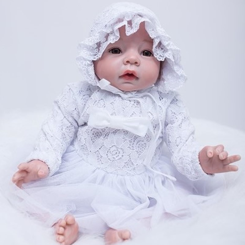 цены Cute 20 Inch Reborn Baby Dolls Lifelike Silicone Newborn Babies Real Touch Vinyl Toy With White Dress Kids Birthday Xmas Gift