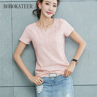 BOBOKATEER Blusas Feminina Ver O 2017 Plus Size White Striped Embroidery Shirt Summer Loose Short Sleeve