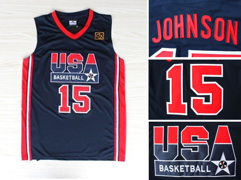 c26456a9 magic johnson usa all star dream team basketball jersey camisetas  baloncesto NO.15 dark blue jersey size S M L XL XXL free ship