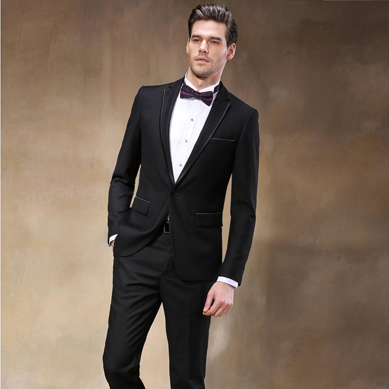 1b256fc8c46 Trajes Para Hombre Custom Made Fashion Black Men Slim Fits Suits Tuxedo  Wedding Suits Groom Suits Formal Business Party Suits