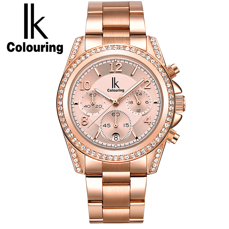 IK colouring Rose Gold Women Watch Chronograph Sub Dial Full Steel Crystal Rhinestone Fashion Dress Auto Date Quartz Watches Top все цены