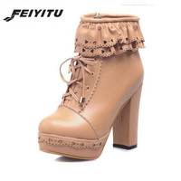 feiyitu Women Shoes Japanese Sweet Lolita Boots Lacing Ankle Boot Waterproof Thick High heeled Female Casual Nude Boots Shoes