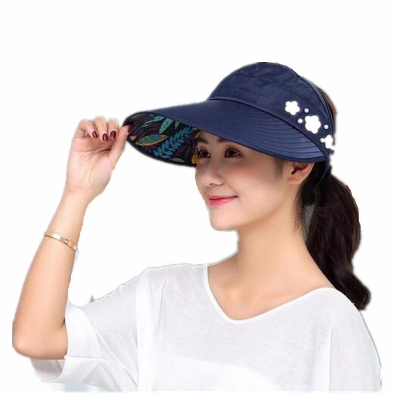 ae27f564ff8fe2 1PCS women summer Sun Hats pearl packable sun visor hat with big heads wide brim  beach