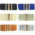 Women Gold Twist Alloy Rectangle Buckle Stretchy Belt Elastic Waist Band BLTYN0029