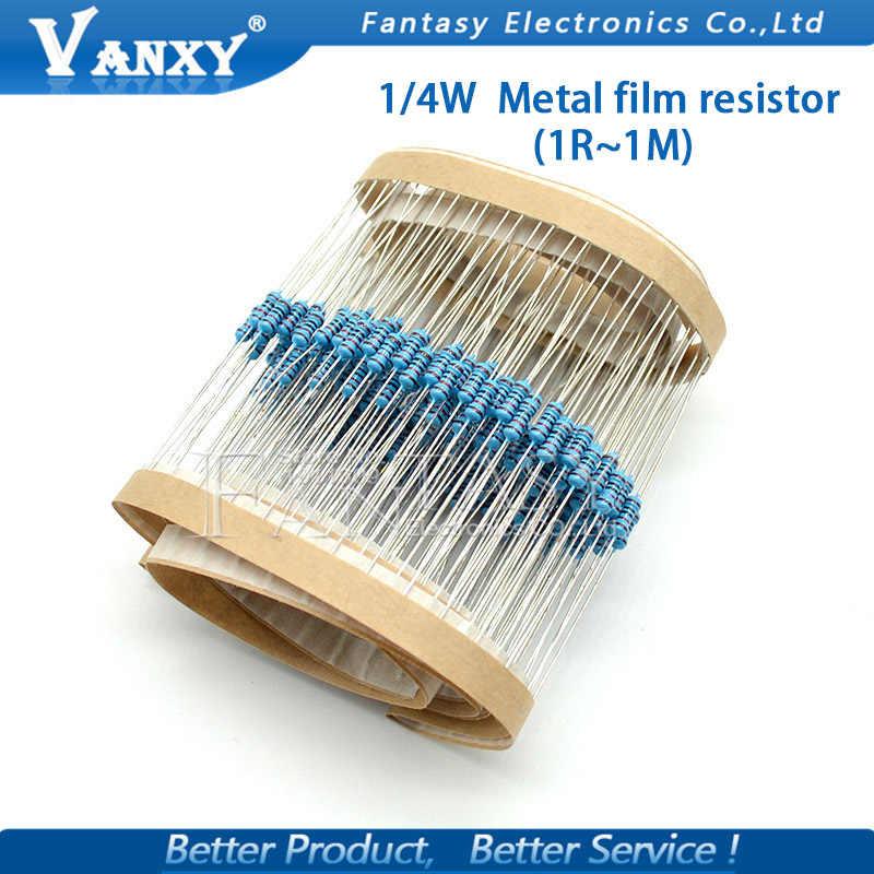100 Uds 1/4W resistencia de película de Metal 1R ~ 1M 100R 220R 330R 1K 1,5 K 2,2 K 3,3 K 4,7 K 10K 22K 47K 100K 100, 220 de 330 1K5 2K2 3K3 4K7 ohm
