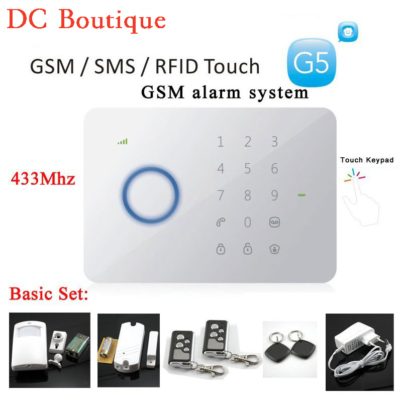 (1 set ) Smart GSM SMS RFID Card New Alarm Security System Andriod&IOS APP 433Mhz Touch Keypad Home Security Protection Motion new design wireless rfid key tag sms notice for home gsm alarm system s3b 433mhz