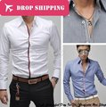 2016 Limited Real Solid Camisas Dropshipping Men's Fashion Casual Point Collar Long Sleeve Slim Shirts, Asian Size / 2xl , G112