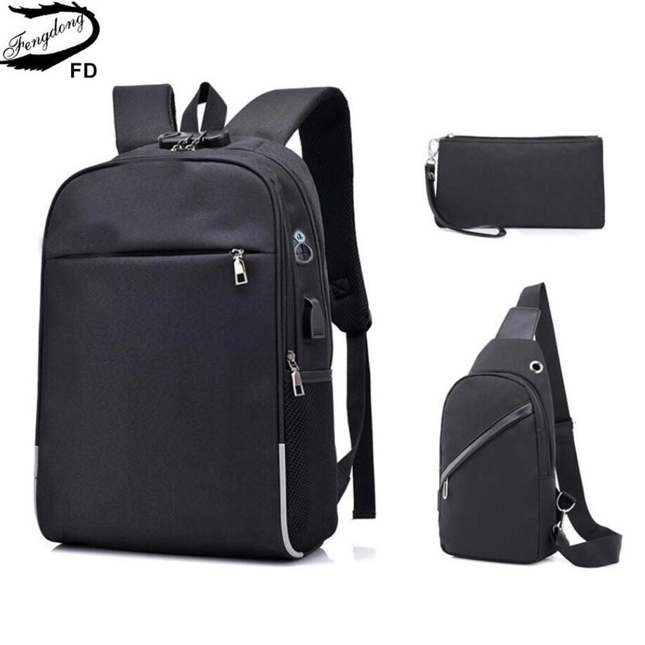 все цены на FengDong 3pcs men multifunctional usb charging 15.6 inch laptop backpack school bags for boys large travel backpack chest bag
