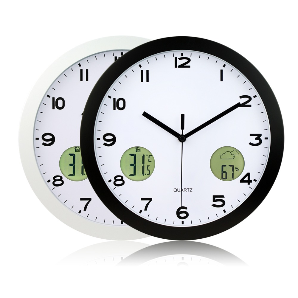 1Pc 2016 High Quality 12-Stunden-Anzeigeformat 30cm Indoor And Outdoor Temperature Thermometer Wall Clock