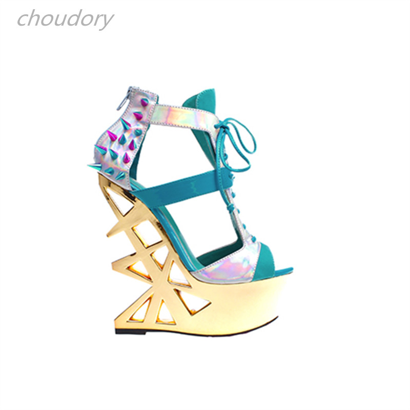 Choudory Rivets Sandals Women Lace Up Strange Super High Heels Sandals Women Shoes Platform Wedges Sexy Shoes Woman Ankle Strap