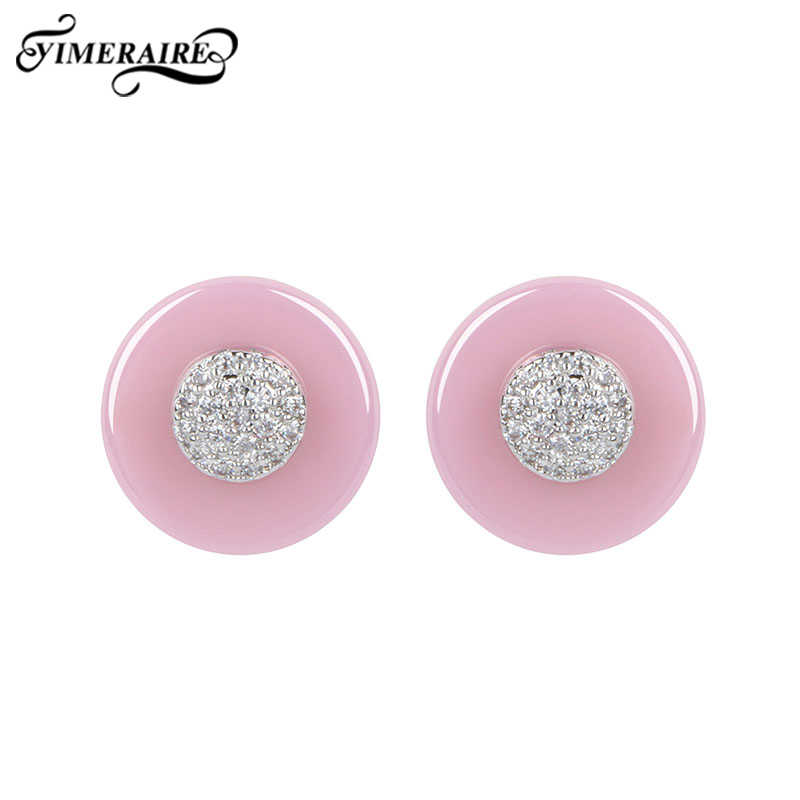 Elegant Pink Blue Round Ceramic Stud Earrings For Women Girl Fashion Jewelry With Shining Rhinestone Ear Accessories Party Gifts