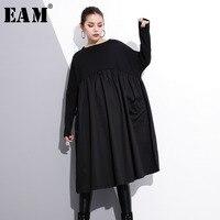 [EAM] 2019 New Spring Round Neck Long Sleeve Black Big Size Pockets Fold Split Joint Big Size Dress Women Fashion Tide JE616