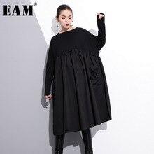 [EAM] 2020 새로운 봄 라운드 목 긴 소매 블랙 큰 크기 주머니 접어 분할 공동 큰 크기 드레스 여성 패션 조수 JE616