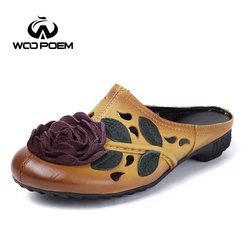 Red Maison Med yellow Femme Transitoire C05 Dehors Chaussures Purple Woopoem D'été Pantoufles De Talon Fleur Cuir Véritable Femmes Mode En on Black Slip fy6gb7Yv