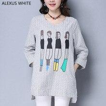 2017 Autumn Women T Shirt Cartoon Printed Loose Casual Cotton Linen T-Shirt Female Three Quarter Sleeves Striped Tops
