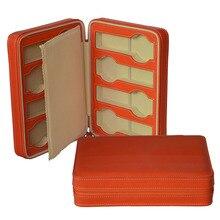 Caja para Relojes de Marca Reloj de Viaje de Cuero Genuino de la alta Calidad Caja de Almacenamiento de Gran Caja de Regalo de Color Naranja GC02-LX-08ZO